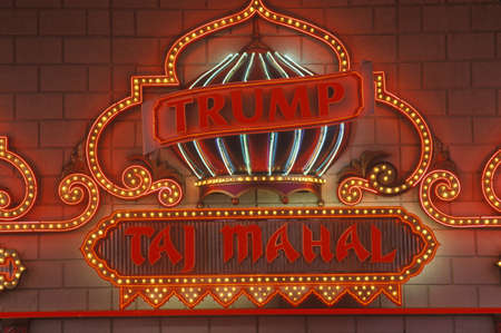 donald: Neon sign outside of Donald Trumps Taj Mahal Casino in Atlantic City, NJ