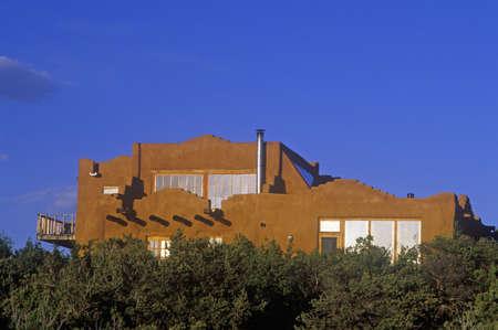 Solar House at sunset in Santa Fe, NM
