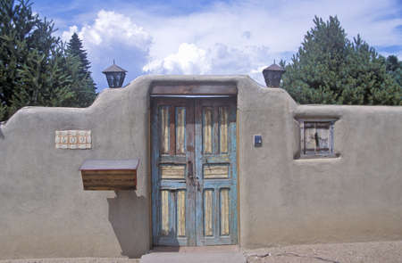 Detail of architecture of adobe in Santa Fe, NM