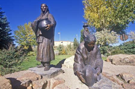 nm: Sculpture of Indian women with water jugs, Santa Fe, NM
