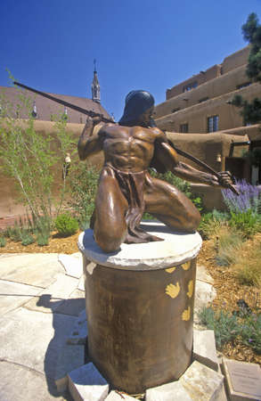 nm: Sculpture of Indian Brave at Inn of Loretto in Santa Fe, NM Editorial
