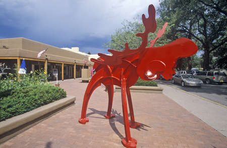 nm: Red sculpture at an art gallery in Santa Fe, NM Editorial