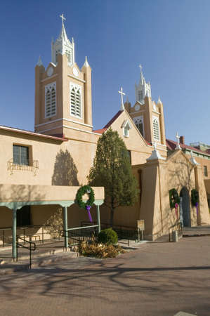 San Felipe de Neri Catholic Church is on the National and State registers of historic places, is located in the Old Town of Albuquerque, New Mexico and began services in 1796