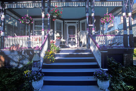 Front porch and chairs of Victorian home in Cape May, NJ