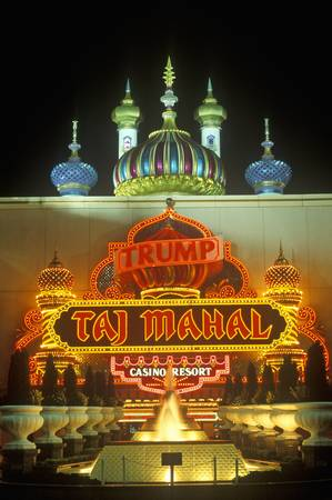 donald: Neon sign outside of Donald Trumps Taj Mahal Casino in Atlantic City, NJ