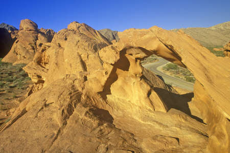 Sandstone Arch and Window on Figure 8 Road in Valley of Fire State Park, NV