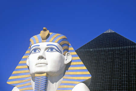 nv: Replicas of Sphinx and Pyramid at the Luxor Hotel and Casino, Las Vegas, NV