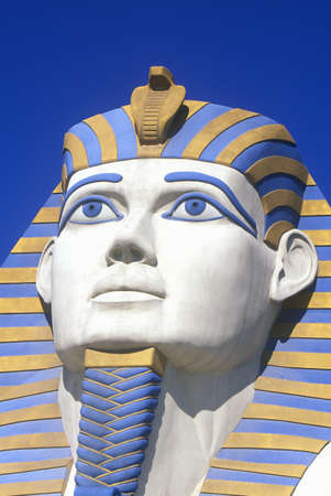 nv: Close-up of replica of Sphinx at the Luxor Hotel, Las Vegas, NV
