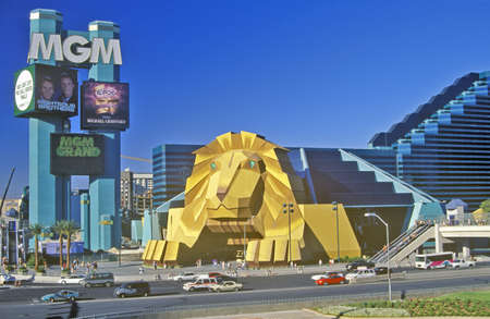 nv: Replica of lion at the Entrance of the MGM Grand Hotel, Las Vegas, NV