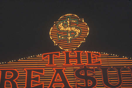 nv: Neon signs at night in Las Vegas, NV Editorial