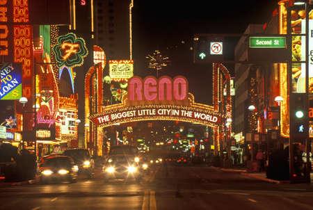 nv: Neon lights at night in Reno, NV Editorial