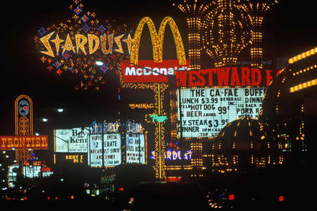 nv: Neon lights at night, Las Vegas, NV Editorial