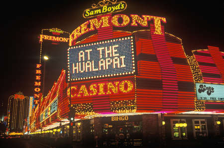 The Fremont Hotel and Casino at night, Downtown Las Vegas, NV