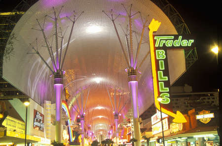 advertise with us: View of Fremont Street at night, Las Vegas, NV Editorial