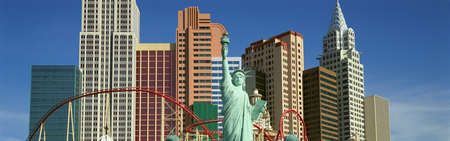 nv: Panoramic view of New York New York Hotel with Statue of Liberty at sunrise, Las Vegas, NV