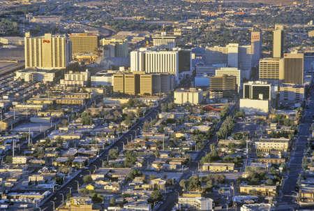 nv: Aerial view of Las Vegas at sunset, NV