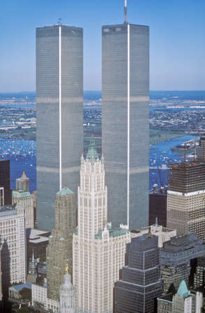 Aerial view of World Trade Towers, New York City, NY