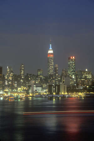 weehawken: New York City Skyline at night as seen from Weehawken, New Jersey Editorial