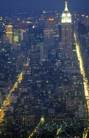 Time exposure shot of Manhattan at night from above, New York City, NY Sajtókép