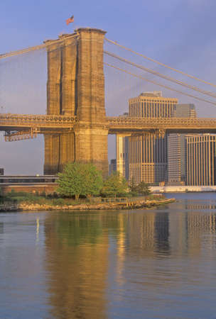 Brooklyn Bridge over the East River at Sunrise, NY