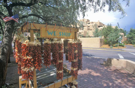 nm: Tourist attraction with red chilies in Town Square, Santa Fe, NM