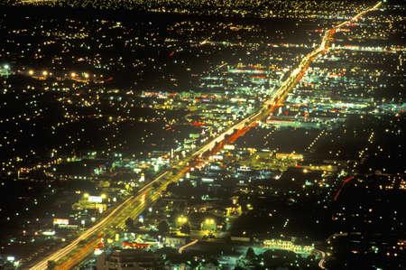 Las Vegas at night from air, NV