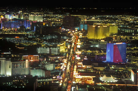 nv: View of the strip at night from the Stratosphere Tower, NV