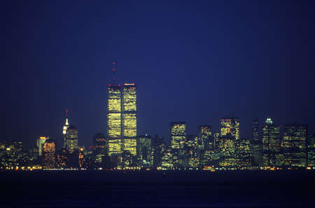 world trade center: Manhattan Skyline from Staten Island at night, New York City, NY Editorial