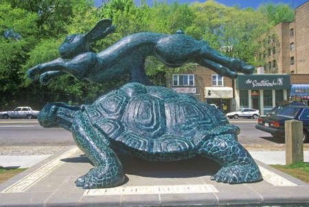 Sculpture of race between the tortoise and hare from Aesops Bench, Yonkers, NY