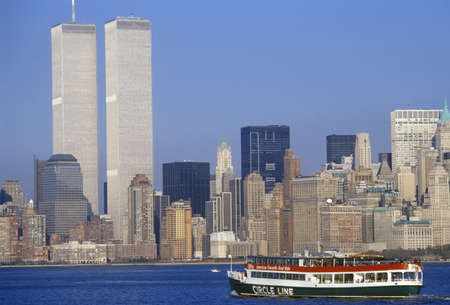 Circle Line boat to see Statue of Liberty with World Trade Center, New York City, NY