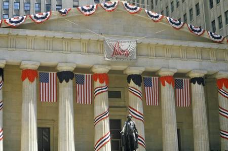 federal hall: Federal Hall with decorations on Liberty Weekend, New York City, NY