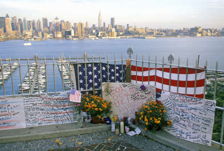 September 11, 2001 Memorial on rooftop looking over Weehawken, New Jersey, New York City, NY