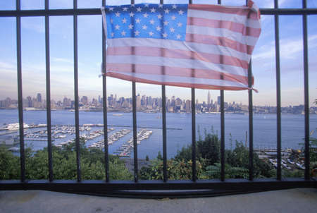 weehawken: September 11, 2001 Memorial on rooftop looking over Weehawken, New Jersey, New York City, NY
