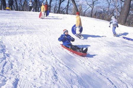 east riding: Children sled riding in Central Park, Manhattan, New York City, NY after winter snow storm