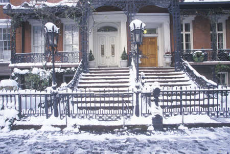 Christmas decor on historic home of Gramercy Park after winter snowstorm in Manhattan, NY