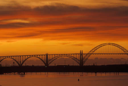 Sunset over Bridge in Newport, OR