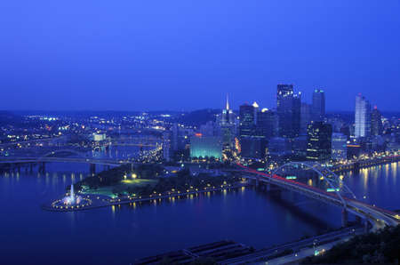 Intersection of Allegheny River, Monongahela River and Ohio River at dusk from Mount Washington, Pittsburgh, PA Stock Photo - 20512476
