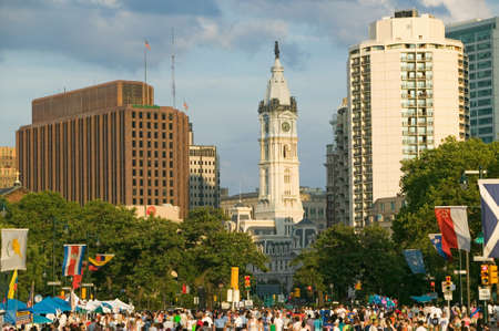 william penn: City Hall with Statue of William Penn on top, Philadelphia, Pennsylvania during Live 8 Concert