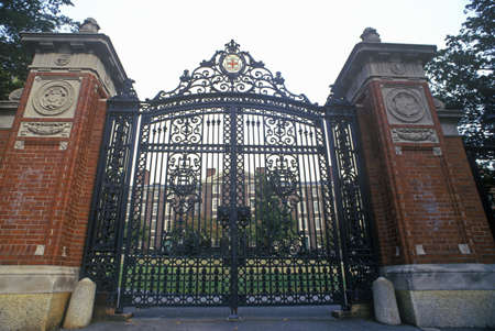 ivy league: Gates at entrance to Brown University, Providence, RI Editorial