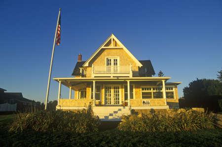 ri: Ocean front home on Scenic route 1 at sunset, Misquamicut, RI