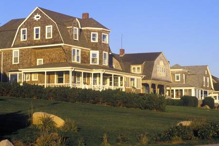 ri: Ocean front home on Scenic route 1 at sunset, Misquamicut, RI