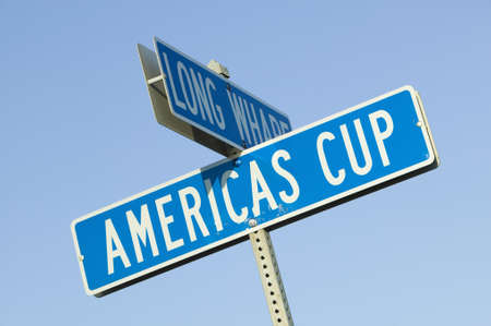 america's cup america: Americas Cup street sign in Newport, Rhode Island