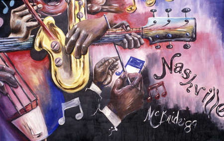 tennessee: Detail of mural depicting music scene in Nashville, TN