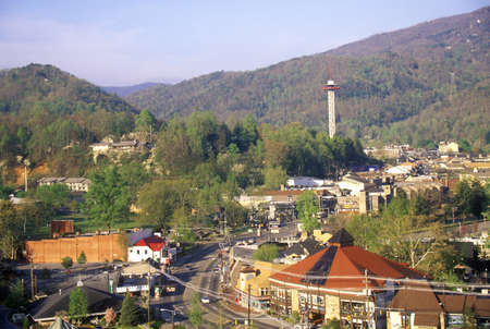 tn: View of downtown Gatlinburg, TN in the Smokey Mountain National Park in springtime