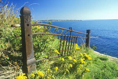 ri: Old fence ruins, Newport, RI Editorial