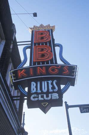 tn: Neon sign outside BB Kings Blues Club at sunset, Memphis, TN