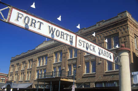 Banner at the Fort Worth Stock Yards with historic hotel, Ft. Worth, TX Publikacyjne