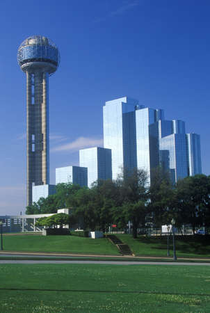 Skyline of Dallas, TX with Reunion Tower and Hyatt Hotel