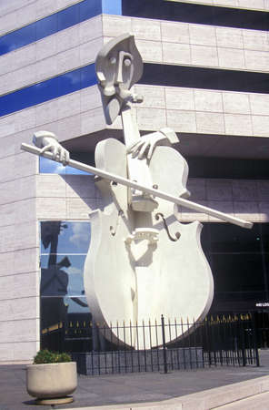 houston: Sculpture of Cello Player in Houston TX Editorial