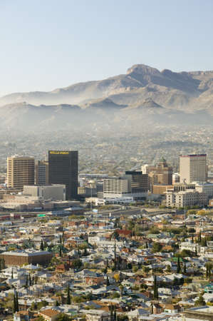 Panoramic view of skyline and downtown El Paso Texas looking toward Juarez, Mexico